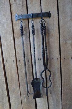 Hand Forged Fireplace Tool Set (3 pcs) W/ Braided Handles (NORTH CAROLINA)