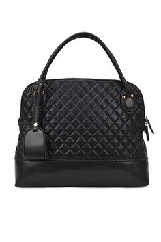 This handbag crafted in PU, featuring quilted design, double zip head of top zip closure, double handle.$65