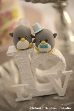 Penguins  Wedding Cake Topper by kikuike on Etsy, $120.00