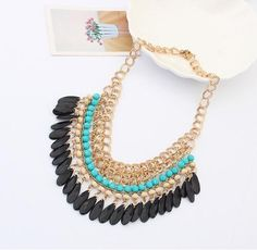 Fashion Womens Bohemian Boho Jewelry Bib Bead Pendant Chain Statement Necklace - https://barskydiamonds.com/necklaces/