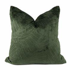 Isla Jungle Green Crosshatch Leaf Texture Velvet Pillow Cover - Fits 12x24 insert (11.5x23 cover)