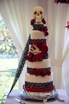 Our wedding cake #rockabilly #weddings #1950's #skulls