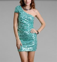 Mint Sequin One Shoulder Dress  I am in love with this
