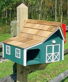 Wooden Dutch Style Barn - Combo mailbox and newspaper holder ~ The Lighthouse Peddler