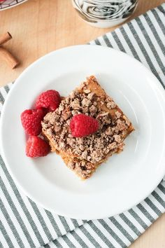 One piece of vegan cinnamon coffee cake, on a white plate, topped with one fresh raspberry. Three raspberries on the plate next to the cake. #MoistChocolateCakeRecipe Cinnamon Cake, Cinnamon Coffee, Cake Recipes, Vegan Recipes, Vegan Comfort Food, Vegan Food, Make Ahead Breakfast, Vegan Breakfast, Healthy Meals To Cook
