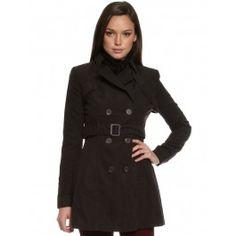 Womens Black Get Smart Trenchcoat by Ladakh $130