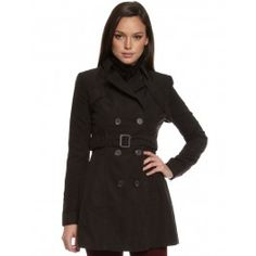 Womens Black Get Smart Trenchcoat by Ladakh $130
