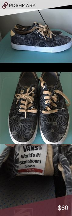 Vans Authentic Pro Palm Tree Sneaker - Size 9 Classic Vans silhouette upgraded for enhanced performance. Sturdy canvas  uppers.  UltraCush™ HD sockliners to keep the foot close to the board while providing the highest level of impact cushioning. Duracap™ reinforcement rubber underlays in high wear areas for unrivaled durability. Single-wrap foxing tape. Vulcanized outsole with waffle outsole for optimum grip. Awesome Palm tree pattern w/ khaki colored heel trim and shoelaces.  Gently used…