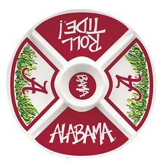 "15"" University of Alabama Crimson Tide Melamine Plastic Veggie Platter | Bama Tailgating"