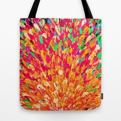 NEON SPLASH - WOW Intense Dash of Cheerful Color, Bold Water Waves Nature Lovers Modern Abstract  Tote Bag by EbiEmporium - $22.00