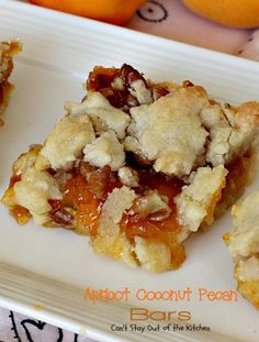 Apricot Coconut Pecan Bars   Can't Stay Out of the Kitchen   exquisite and heavenly #dessert with a #coconut shorbread crust, #apricotpreserves, #pecans & streusel topping. #cookie #apricots