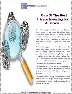 Are you need to private investigator for your missing person case in Australia. Our all services for business and personal investigation. Private Investigator Australia have a experienced to work on all cases. Meet and get best solution for your case.