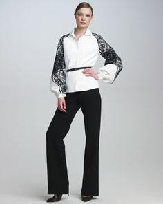 Carolina Herrera Belted Lace-Sleeve Blouse & Wide-Leg Trousers