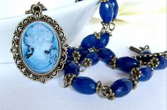 Jewelry set. Peacock blue, by romanticcrafts, $25.00