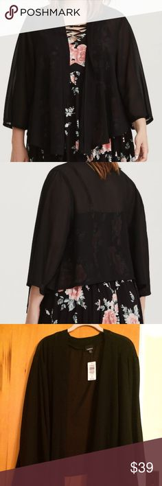 40dc1a67ade TORRID BLACK DRAPED CHIFFON KIMONO SIZE 5 6X NWT Airy chiffon transforms  this versatile kimono from sand to street and becomes your new favorite  layering ...