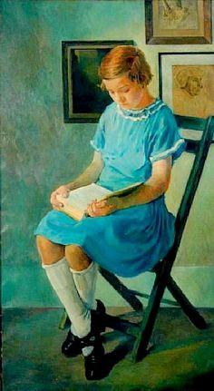 Portrait of a girl in a blue dress reading a book, 1925. Carle Michel Boog