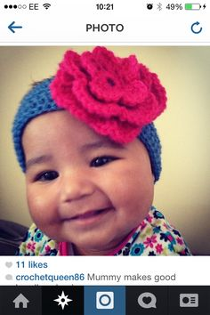 Oversized crochet flower headband