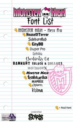 Updated the font list for all the Monster High stuff released so far – Monster High Dolls .com