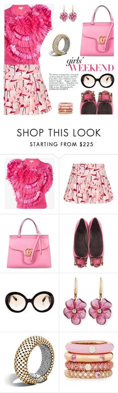 """""""City flamingo"""" by pensivepeacock ❤ liked on Polyvore featuring Delpozo, RED Valentino, Gucci, Roger Vivier, Avenue, Prada, Rina Limor, John Hardy and Adolfo Courrier"""