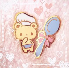 Bon Appetit Bear Enamel Pin - Chef Bear and Spoon Lapel Pin Set Visual Kei, Little Presents, Bag Pins, Jacket Pins, Cool Pins, Pin And Patches, Metal Pins, Harajuku, Disney Pins