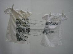 Aya Haidar, The Stitch is Lost Unless the Thread is Knotted, i used this as inspiration to adding some text to the weavings. I had the idea of joining three tapestries together through trailing thread between them. Textile Artists, Art Plastique, Embroidery Art, Portrait Embroidery, Fabric Art, Installation Art, Textile Design, Fiber Art, Contemporary Art