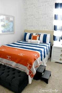 Love this room from and how she styled our Game On with Orange! And look at that amazing sailboat wallpaper! People always ask us how to cover the box spring and look how great our Game On looks with a white bed skirt. Nautical Bedroom, Bedroom Decor, Bedroom Ideas, White Bed Skirt, Zipper Bedding, Old Room, Make Your Bed, Girls Bedroom, White Bedroom