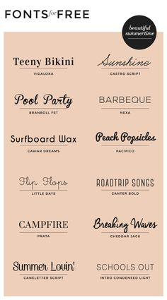 Beautiful Fonts For Summer