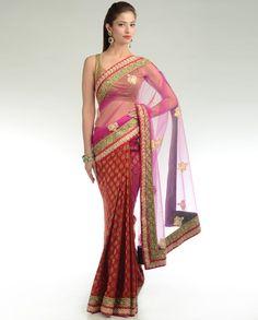 Indian Red Sari with Net Pallu