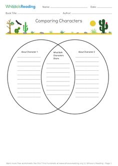 Skill: People and Characters, Students will compare two characters from their book using a venn diagram. Literacy Worksheets, Book Title, New Job, Students, Diagram, Characters, Reading, Books, People