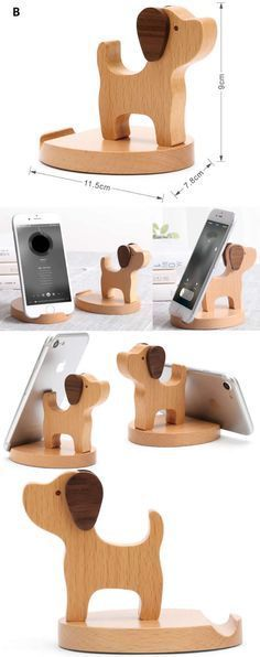 Wooden Dog Shaped iPhone Mobile Phone iPad Holder Stand Mount for iPhone iPad and Other Cell Phone