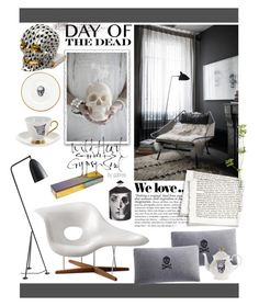 """Day of the Dead Style"" by gabree ❤ liked on Polyvore featuring interior, interiors, interior design, home, home decor, interior decorating, Charles and Ray Eames, Studio dks by Deborah Shavlik, Zara and Arco"