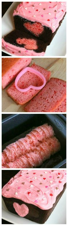 Easy Valentine Surprise Cake ~ It has a hidden heart inside,,, This chocolate loaf cake is so fun and easy to make.