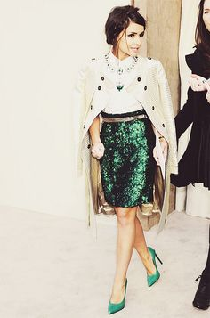emerald skirt x braid #hairstyle :: Miroslava Duma