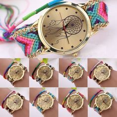 Women Dreamcatcher Pattern Braided Ethnic Quartz Knit Chain Bracelet Wrist Watch #Fashion