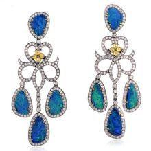 Unique Design Opal Gemstone Wedding Earrings