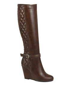 Loving this Cognac Quilted Bella Wedge Boot on #zulily! #zulilyfinds