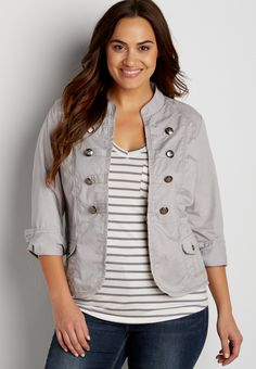 plus size military blazer in silver gray (original price, $54.00) available at #Maurices