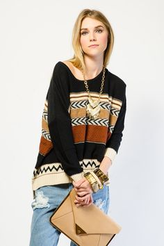 Cozy Multi Print Knit Top -- Gstage -- $22.99