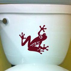 Tree Frog DECAL- toilet Home Decor, Vinyl Wall Art, Shower, Bathroom, | EyvalDecal - Housewares on ArtFire