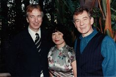 """1996 -- Alan Rickman with Ian McKellen and a lady I don't know. I'm guessing 1996 since that's when Alan & Ian were in """"Rasputin."""""""
