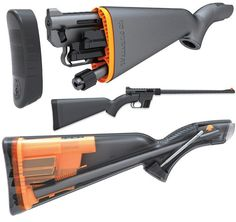 I'm not really a gun person.. but this is cool.  The Henry U.S. Survival AR-7 Rifle ($275) is a semi-automatic firearm that sports an 8-round .22 LR magazine, and features a unique design that allows the receiver and the barrel to fit inside the impact-resistant, waterproof stock.