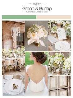 Green and burlap inspiration board, color palette, mood board, wedding ideas