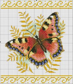 Butterfly Cross Stitch, Butterfly Embroidery, Cross Stitch Bird, Hand Embroidery Stitches, Cross Stitch Flowers, Counted Cross Stitch Patterns, Cross Stitch Charts, Cross Stitch Designs, Cross Stitching