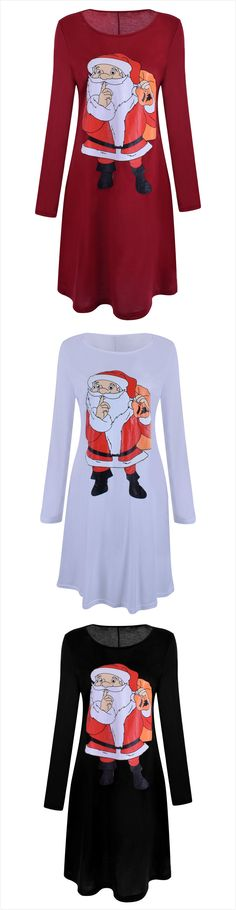 Christmas Santa Graphic Loose Fit Dress