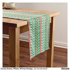 Poinsettia Pink and Green Woven Design Table Runner