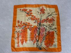 Gorgeous Vera Neumann Abstract Orange Pink Fall Colors Silk Scarf