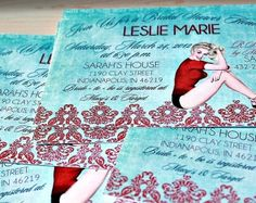 I like these invites Davidsson Davidsson Schell - Perfect for your wedding! Bridal Shower Invitations for Lingerie Pin Up Party Pin Up Party, Party Time, 40s Wedding, Wedding Ideas, Bridal Shower Invitations, Invites, Event Design, Theme Parties, Felicia