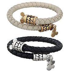 Mickey Mouse Leather Wrap Bracelet by Alex and Ani | Disney Store Mickey will be on hand to provide positive energy with this leather wrap bracelet. Crafted in a choice of black or cream leather by Alex and Ani, it symbolises ''Love is the thread, the common bond we all share.''