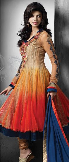 Shaded #Orange and Beige Net Readymade #Anarkali Churidar Kameez @ $222.41