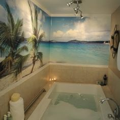 Going Wild with Coastal Wallpaper in the Bathroom Bathroom Mural, Beach Theme Bathroom, Beach Room, Beach Bathrooms, Master Bathroom, Tropical Bathroom, Coastal Wallpaper, Beach Wallpaper, Wallpaper Murals